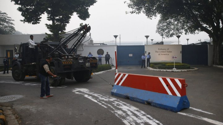 Barricades outside the American Embassy in New Delhi, Credit: Saurabh Das, AP