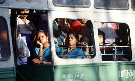 Travels Bus in Chennai Women on a Bus in Chennai